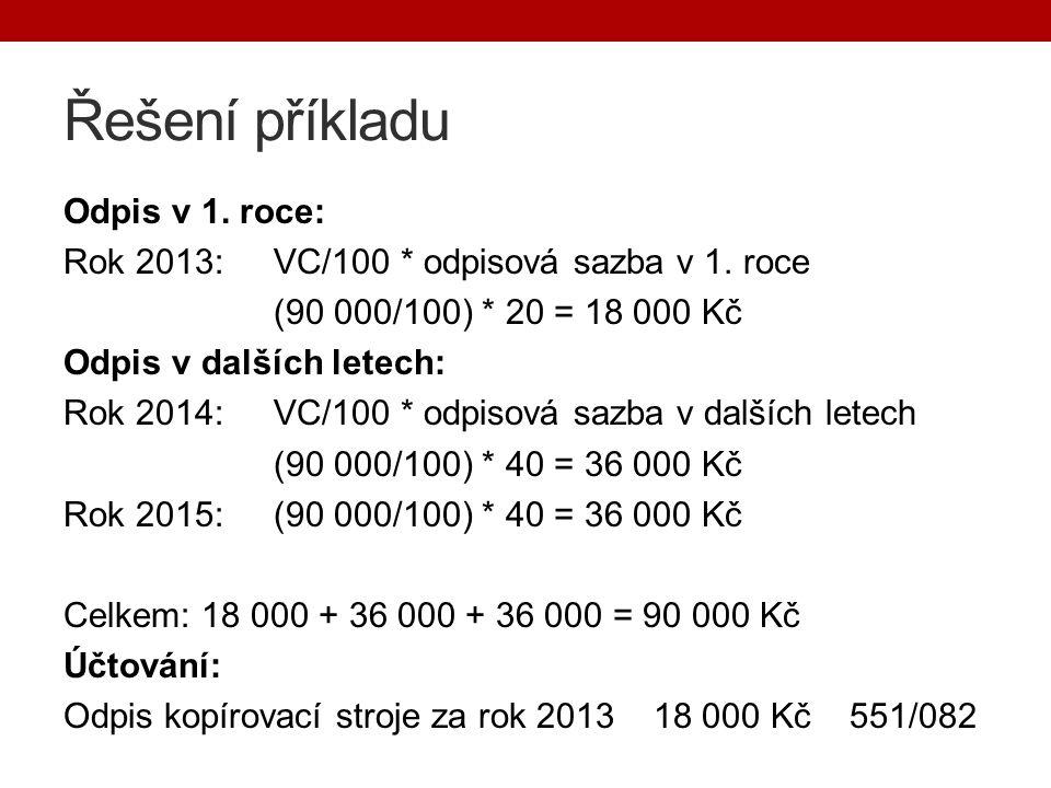 Řešení příkladu Odpis v 1. roce: Rok 2013:VC/100 * odpisová sazba v 1.