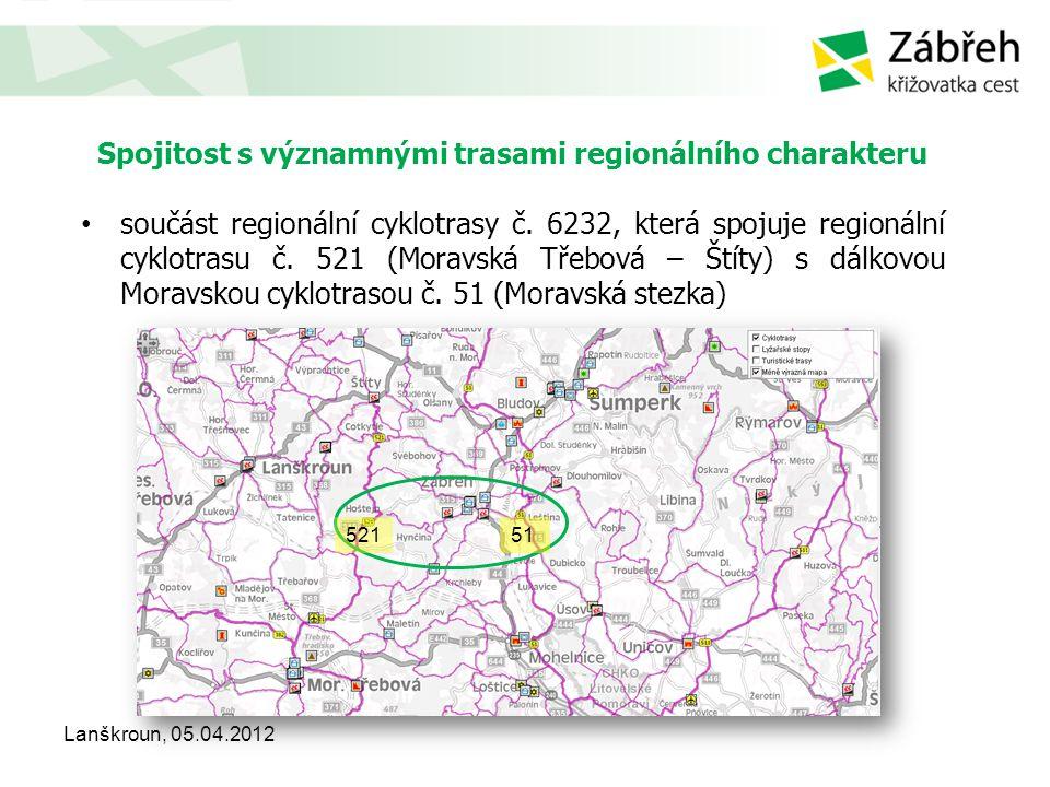 Spojitost s významnými trasami regionálního charakteru • součást regionální cyklotrasy č. 6232, která spojuje regionální cyklotrasu č. 521 (Moravská T