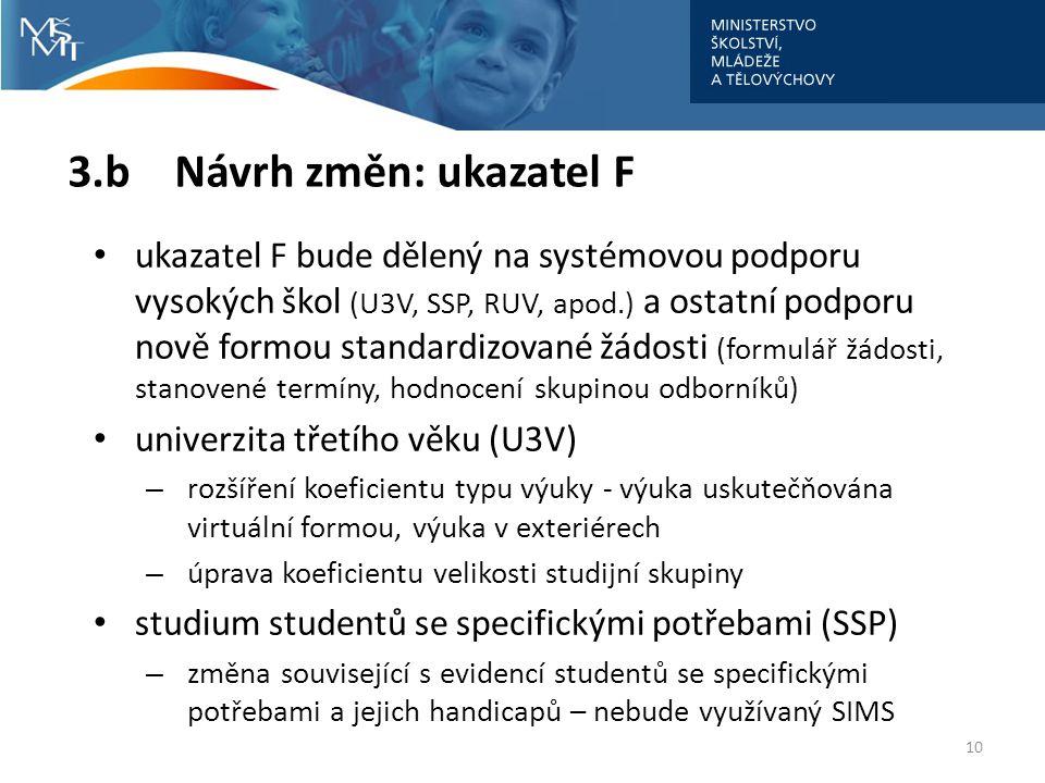 • ukazatel F bude dělený na systémovou podporu vysokých škol (U3V, SSP, RUV, apod.) a ostatní podporu nově formou standardizované žádosti (formulář žá