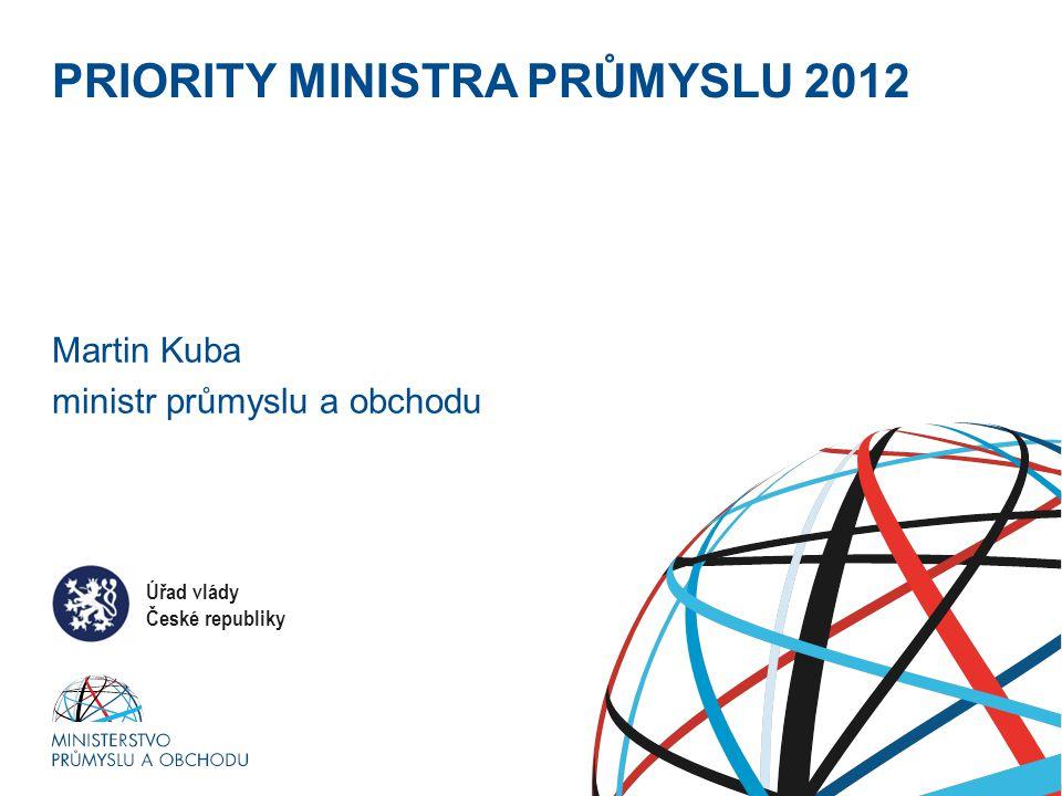 Ministerstvo průmyslu a obchodu PRIORITY MINISTRA PRŮMYSLU 2012 Martin Kuba ministr průmyslu a obchodu Úřad vlády České republiky