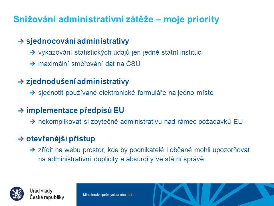 Ministerstvo průmyslu a obchodu Snižování administrativní zátěže – moje priority sjednocování administrativy vykazování statistických údajů jen jedné státní instituci maximální směřování dat na ČSÚ zjednodušení administrativy sjednotit používané elektronické formuláře na jedno místo implementace předpisů EU nekomplikovat si zbytečně administrativu nad rámec požadavků EU otevřenější přístup zřídit na webu prostor, kde by podnikatelé i občané mohli upozorňovat na administrativní duplicity a absurdity ve státní správě Úřad vlády České republiky