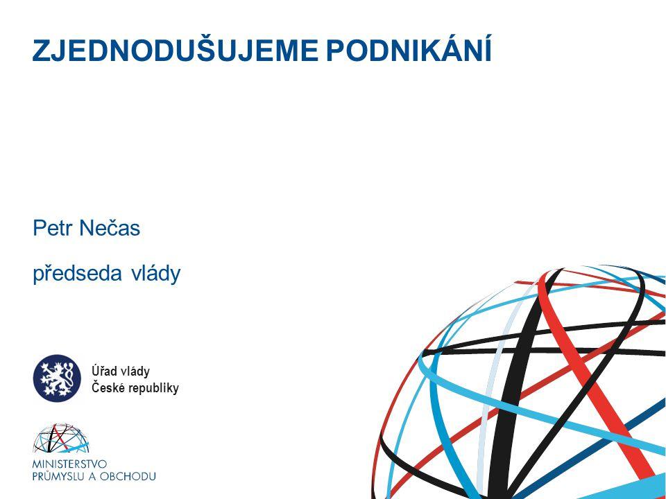 Ministerstvo průmyslu a obchodu ZJEDNODUŠUJEME PODNIKÁNÍ Petr Nečas předseda vlády Úřad vlády České republiky