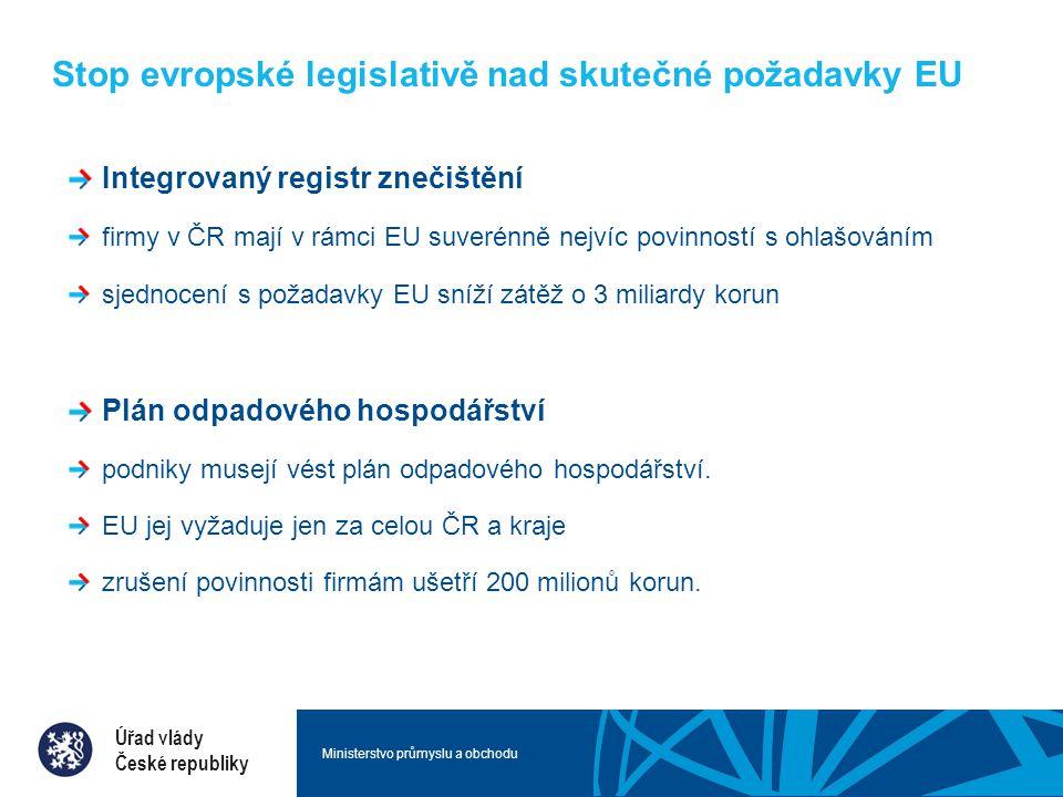 Ministerstvo průmyslu a obchodu Stop evropské legislativě nad skutečné požadavky EU Integrovaný registr znečištění firmy v ČR mají v rámci EU suverénně nejvíc povinností s ohlašováním sjednocení s požadavky EU sníží zátěž o 3 miliardy korun Plán odpadového hospodářství podniky musejí vést plán odpadového hospodářství.