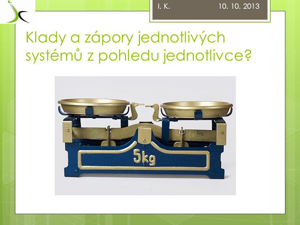 Klady a zápory jednotlivých systémů Zdroj: www.reforma-duchodu.comwww.reforma-duchodu.com I.
