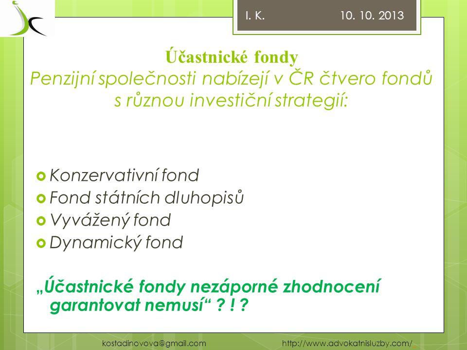 Důchodové spoření – II. pilíř Komerční banka příklad I. K. 10. 10. 2013