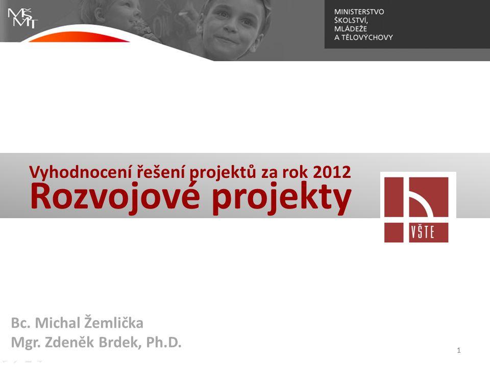 1 Vyhodnocení řešení projektů za rok 2012 Rozvojové projekty 1 Bc. Michal Žemlička Mgr. Zdeněk Brdek, Ph.D.