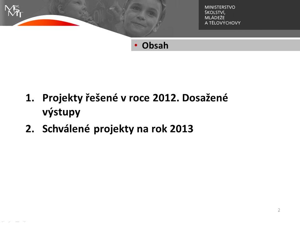 1.Projekty řešené v roce 2012. Dosažené výstupy 2.Schválené projekty na rok 2013 2 • Obsah