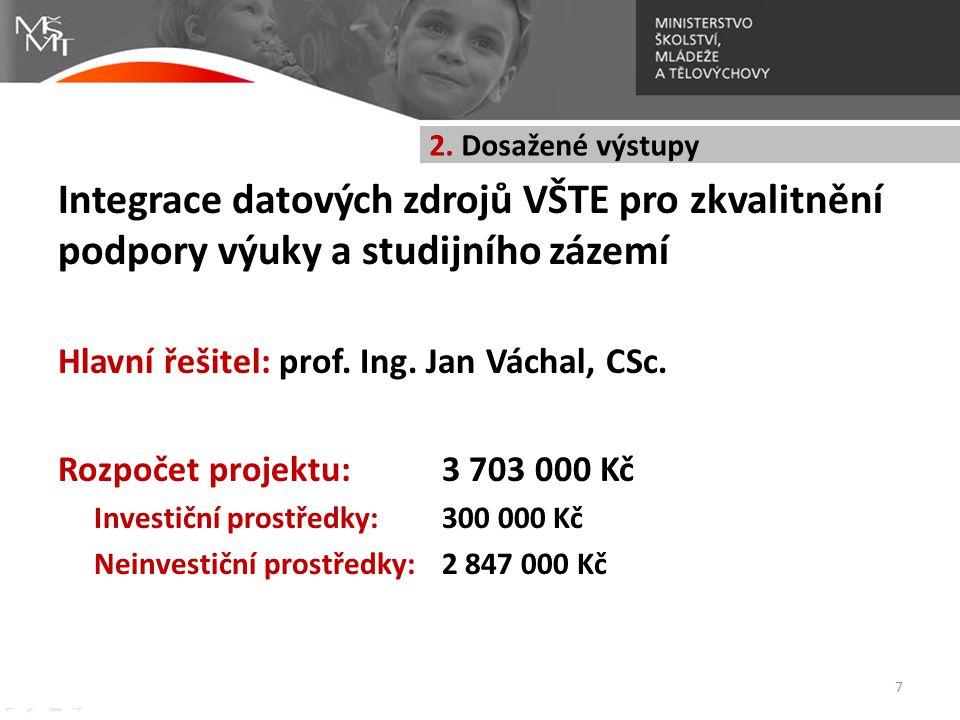 Integrace datových zdrojů VŠTE pro zkvalitnění podpory výuky a studijního zázemí Hlavní řešitel: prof. Ing. Jan Váchal, CSc. Rozpočet projektu:3 703 0