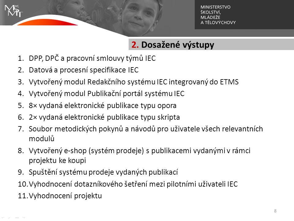 1.DPP, DPČ a pracovní smlouvy týmů IEC 2.Datová a procesní specifikace IEC 3.Vytvořený modul Redakčního systému IEC integrovaný do ETMS 4.Vytvořený mo