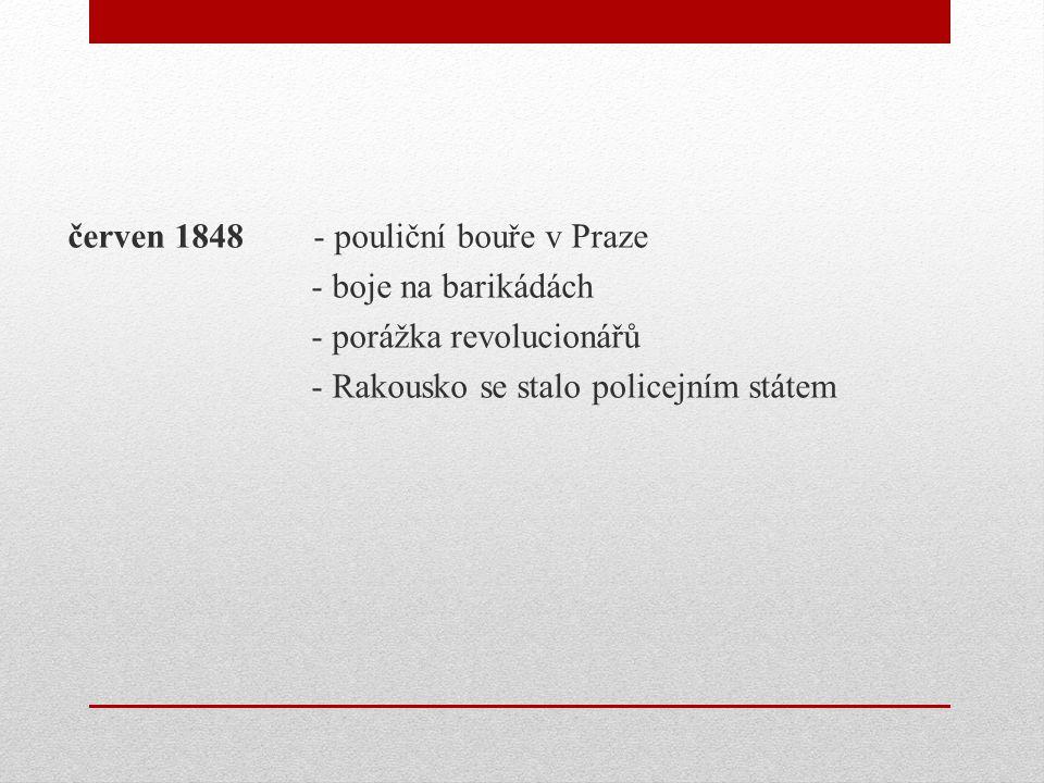 červen 1848 - pouliční bouře v Praze - boje na barikádách - porážka revolucionářů - Rakousko se stalo policejním státem