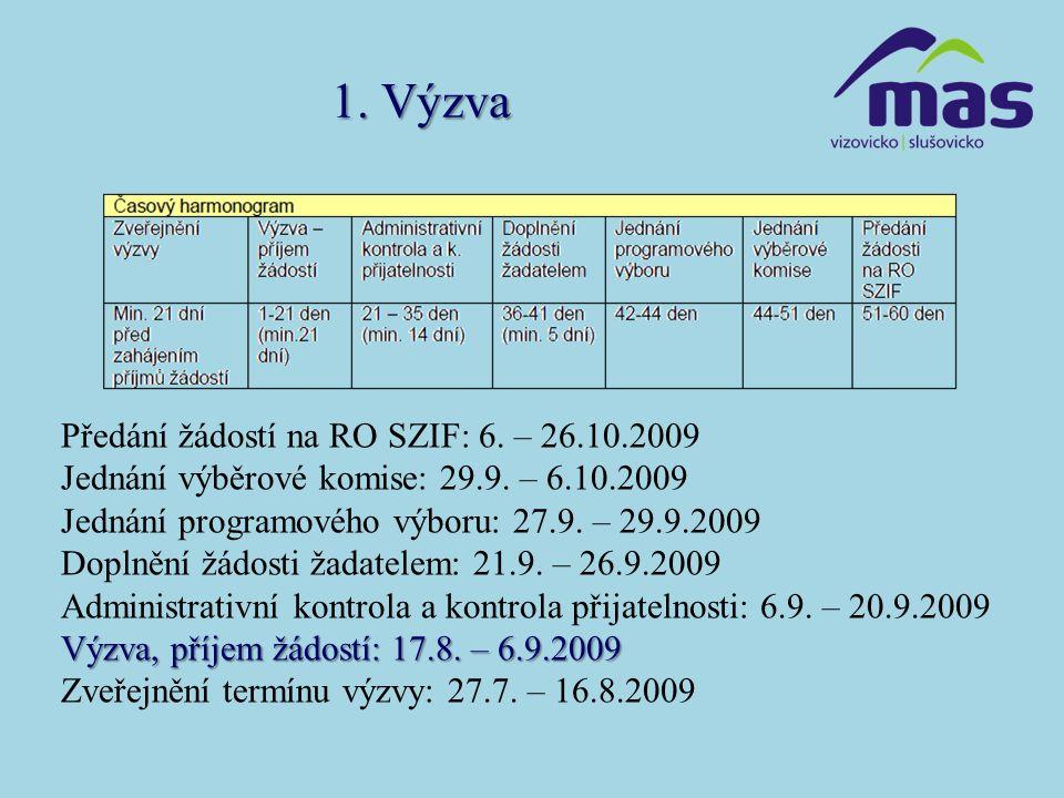 1. Výzva Předání žádostí na RO SZIF: 6. – 26.10.2009 Jednání výběrové komise: 29.9. – 6.10.2009 Jednání programového výboru: 27.9. – 29.9.2009 Doplněn