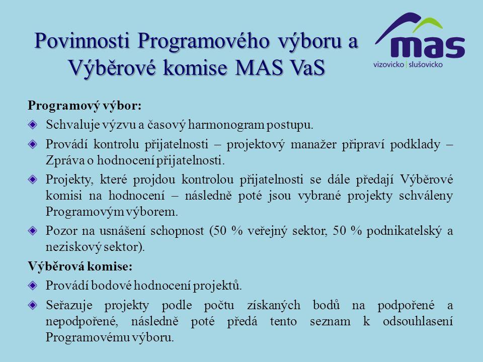 Povinnosti Programového výboru a Výběrové komise MAS VaS Programový výbor: Schvaluje výzvu a časový harmonogram postupu. Provádí kontrolu přijatelnost