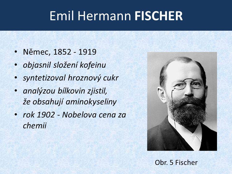 Emil Hermann FISCHER • Němec, 1852 ‑ 1919 • objasnil složení kofeinu • syntetizoval hroznový cukr • analýzou bílkovin zjistil, že obsahují aminokyseliny • rok 1902 - Nobelova cena za chemii Obr.