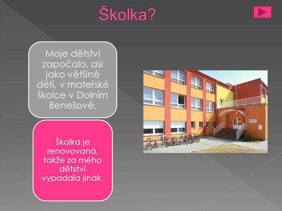 Moje dětství započalo, asi jako většině dětí, v mateřské školce v Dolním Benešově.