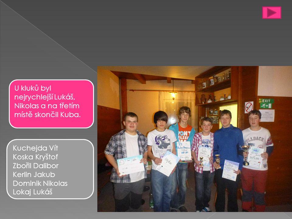 Kuchejda Vít Koska Kryštof Zbořil Dalibor Kerlin Jakub Dominik Nikolas Lokaj Lukáš U kluků byl nejrychlejší Lukáš, Nikolas a na třetím místě skončil Kuba.