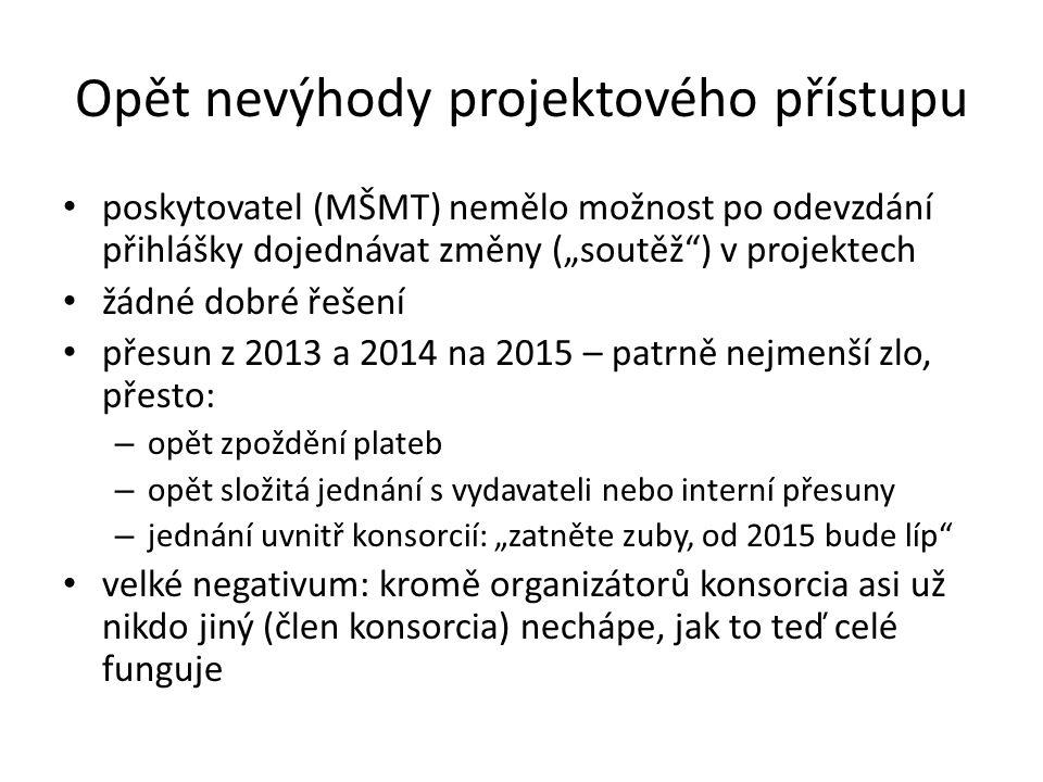 """Opět nevýhody projektového přístupu • poskytovatel (MŠMT) nemělo možnost po odevzdání přihlášky dojednávat změny (""""soutěž ) v projektech • žádné dobré řešení • přesun z 2013 a 2014 na 2015 – patrně nejmenší zlo, přesto: – opět zpoždění plateb – opět složitá jednání s vydavateli nebo interní přesuny – jednání uvnitř konsorcií: """"zatněte zuby, od 2015 bude líp • velké negativum: kromě organizátorů konsorcia asi už nikdo jiný (člen konsorcia) nechápe, jak to teď celé funguje"""