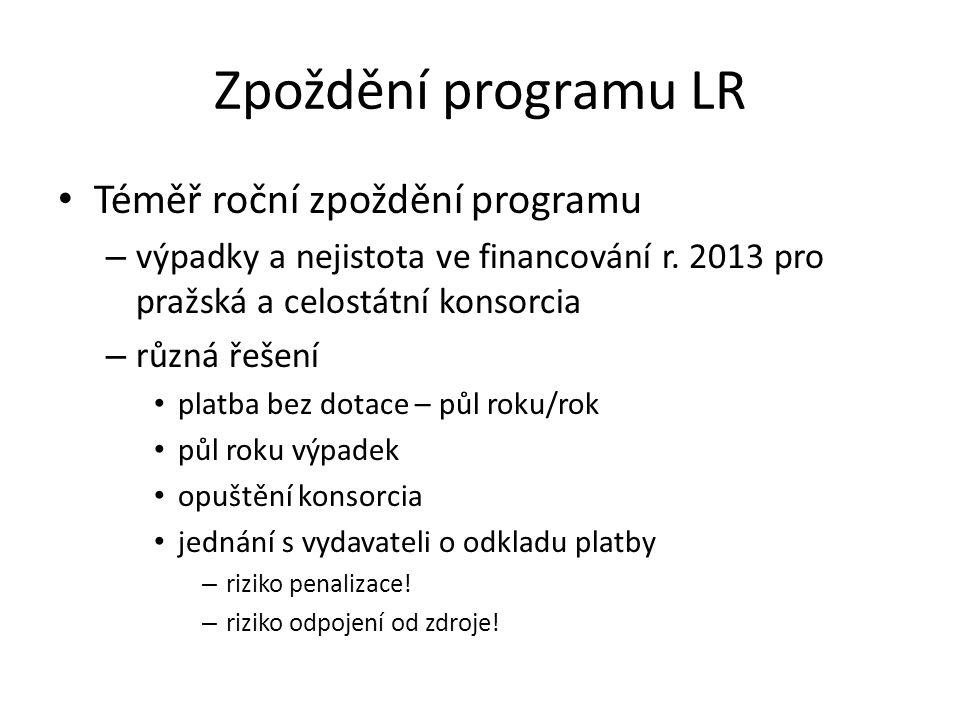 Zpoždění programu LR • Téměř roční zpoždění programu – výpadky a nejistota ve financování r. 2013 pro pražská a celostátní konsorcia – různá řešení •