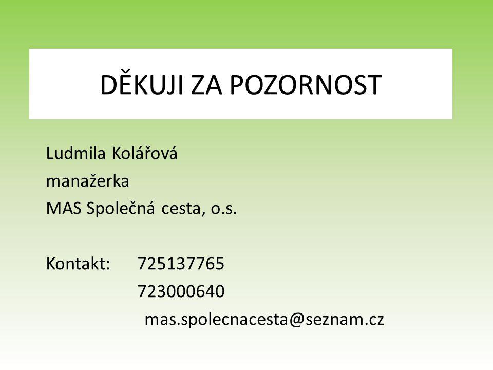 DĚKUJI ZA POZORNOST Ludmila Kolářová manažerka MAS Společná cesta, o.s.