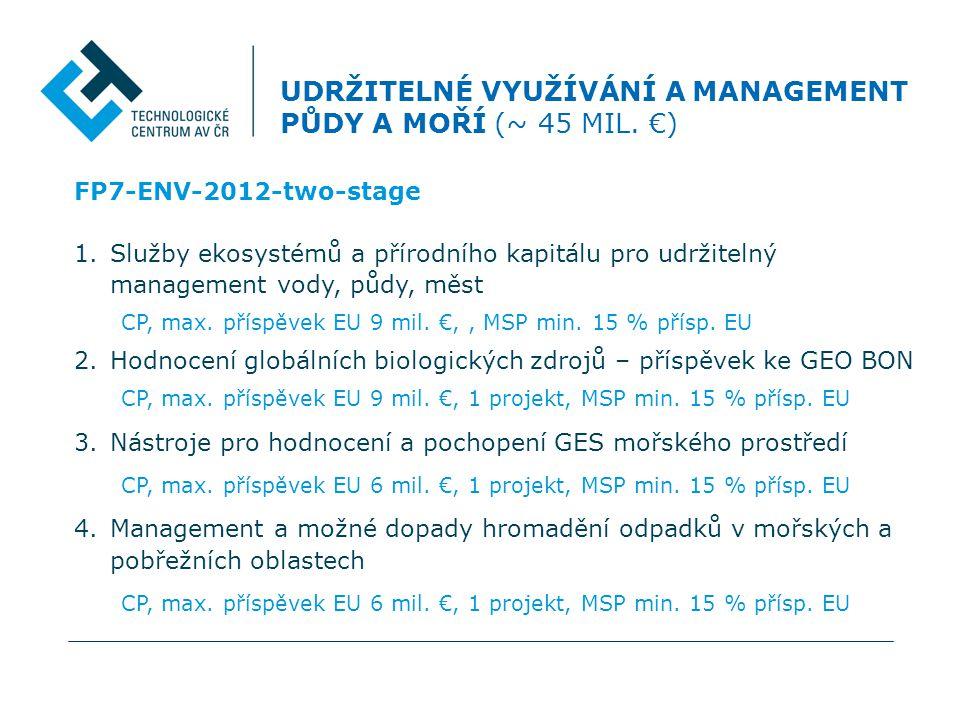 1.Služby ekosystémů a přírodního kapitálu pro udržitelný management vody, půdy, měst CP, max.
