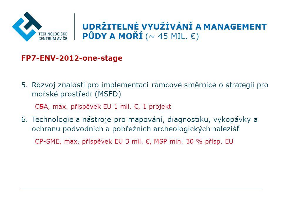 FP7-ENV-2012-one-stage 5.Rozvoj znalostí pro implementaci rámcové směrnice o strategii pro mořské prostředí (MSFD) CSA, max.