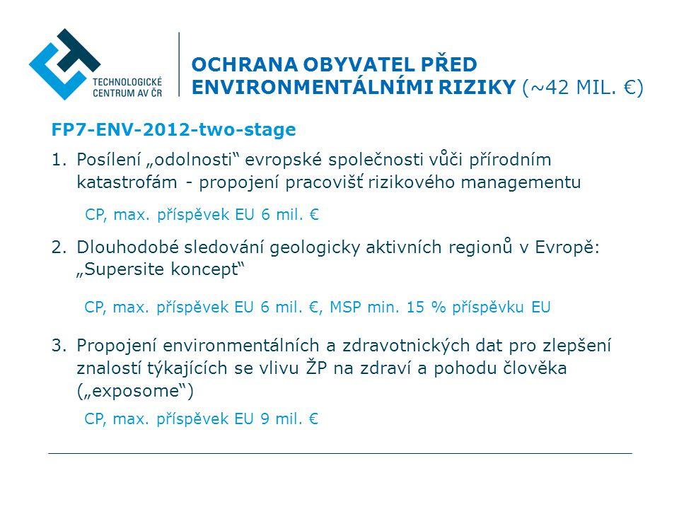 """FP7-ENV-2012-two-stage 1.Posílení """"odolnosti evropské společnosti vůči přírodním katastrofám - propojení pracovišť rizikového managementu CP, max."""
