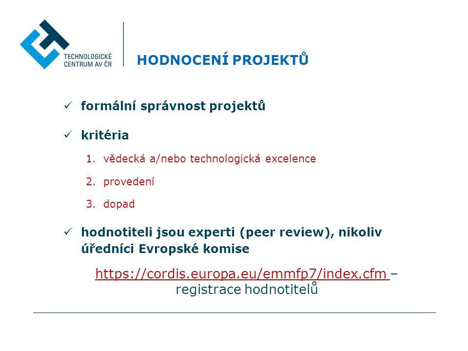 HODNOCENÍ PROJEKTŮ  formální správnost projektů  kritéria 1.vědecká a/nebo technologická excelence 2.provedení 3.dopad  hodnotiteli jsou experti (peer review), nikoliv úředníci Evropské komise https://cordis.europa.eu/emmfp7/index.cfm – registrace hodnotitelů