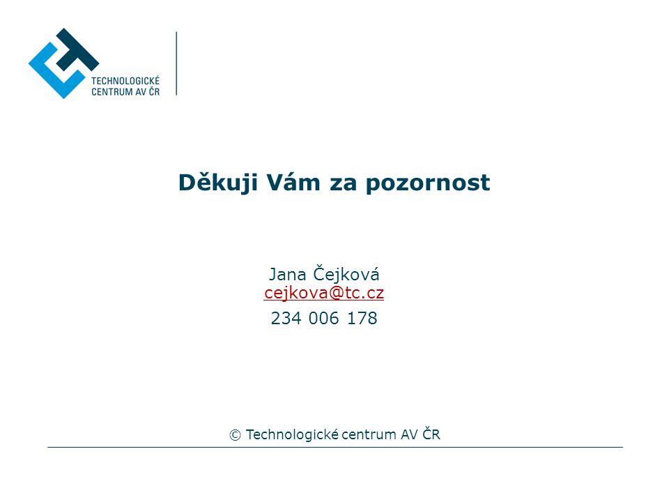 Děkuji Vám za pozornost © Technologické centrum AV ČR Jana Čejková cejkova@tc.cz 234 006 178