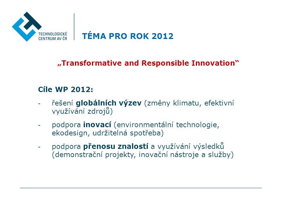 """TÉMA PRO ROK 2012 """"Transformative and Responsible Innovation Cíle WP 2012: - řešení globálních výzev (změny klimatu, efektivní využívání zdrojů) - podpora inovací (environmentální technologie, ekodesign, udržitelná spotřeba) - podpora přenosu znalostí a využívání výsledků (demonstrační projekty, inovační nástroje a služby)"""