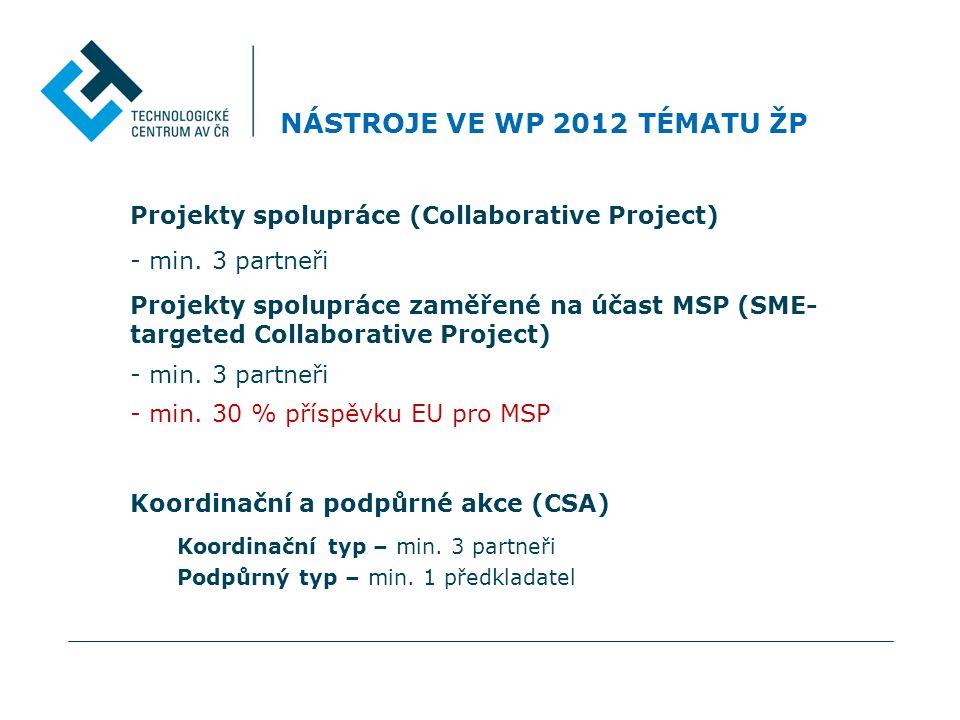 NÁSTROJE VE WP 2012 TÉMATU ŽP Projekty spolupráce (Collaborative Project) - min.