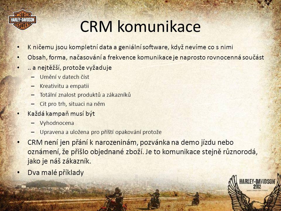 CRM komunikace • K ničemu jsou kompletní data a geniální software, když nevíme co s nimi • Obsah, forma, načasování a frekvence komunikace je naprosto rovnocenná součást •..