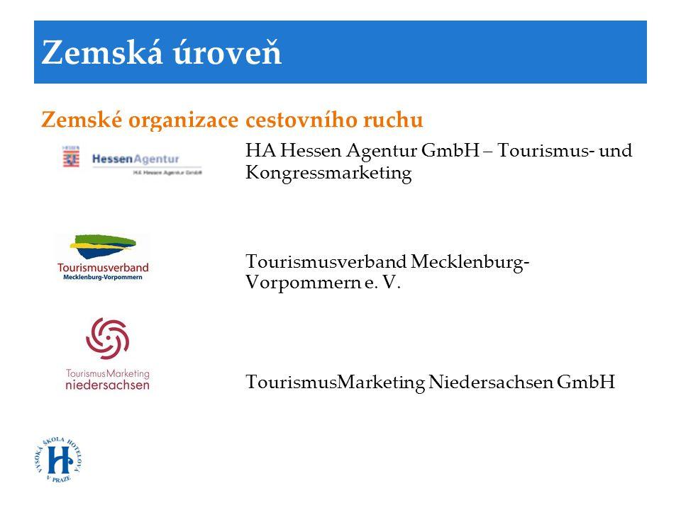 Zemská úroveň Zemské organizace cestovního ruchu HA Hessen Agentur GmbH – Tourismus- und Kongressmarketing Tourismusverband Mecklenburg- Vorpommern e.