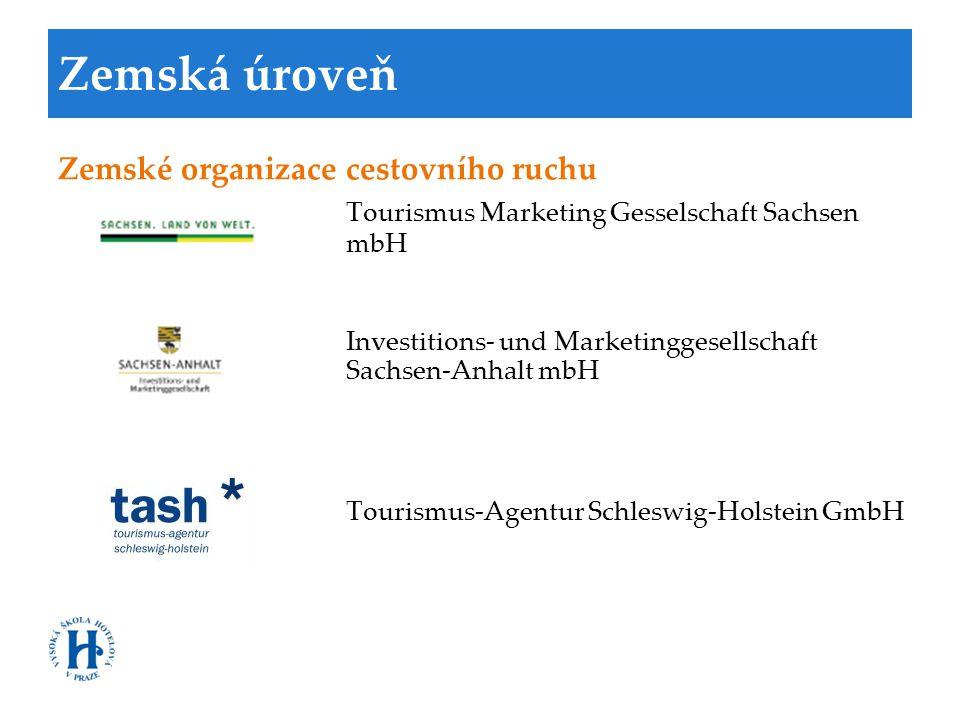 Zemská úroveň Zemské organizace cestovního ruchu Tourismus Marketing Gesselschaft Sachsen mbH Investitions- und Marketinggesellschaft Sachsen-Anhalt m