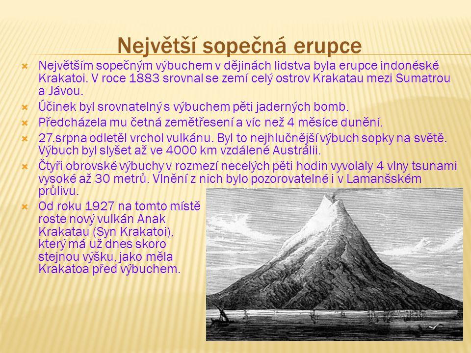 Největší sopečná erupce  Největším sopečným výbuchem v dějinách lidstva byla erupce indonéské Krakatoi. V roce 1883 srovnal se zemí celý ostrov Kraka