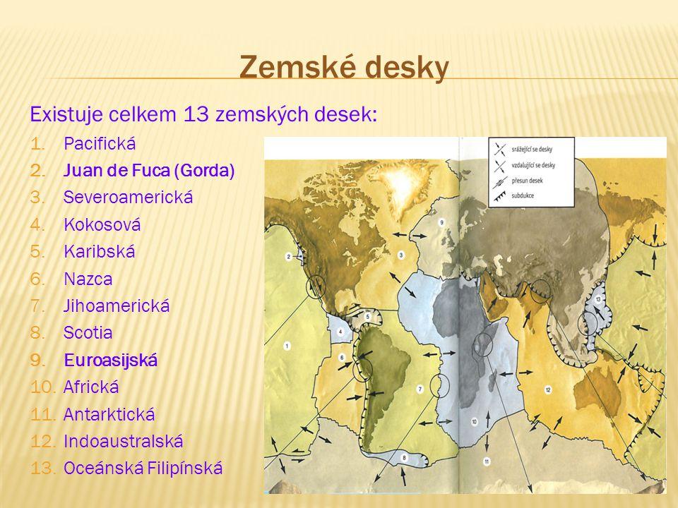 Zemské desky Existuje celkem 13 zemských desek: 1.Pacifická 2.Juan de Fuca (Gorda)  3.Severoamerická 4.Kokosová 5.Karibská 6.Nazca 7.Jihoamerická 8.S