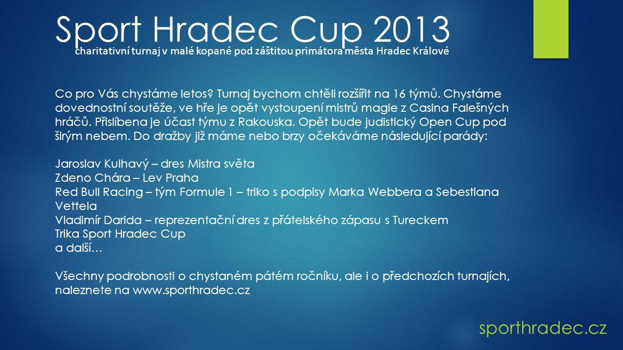 sporthradec.cz Sport Hradec Cup 2013 charitativní turnaj v malé kopané pod záštitou primátora města Hradec Králové Co pro Vás chystáme letos.