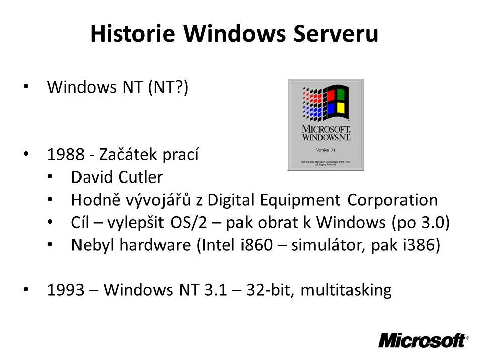 Historie Windows Serveru • Windows NT (NT?) • 1988 - Začátek prací • David Cutler • Hodně vývojářů z Digital Equipment Corporation • Cíl – vylepšit OS/2 – pak obrat k Windows (po 3.0) • Nebyl hardware (Intel i860 – simulátor, pak i386) • 1993 – Windows NT 3.1 – 32-bit, multitasking