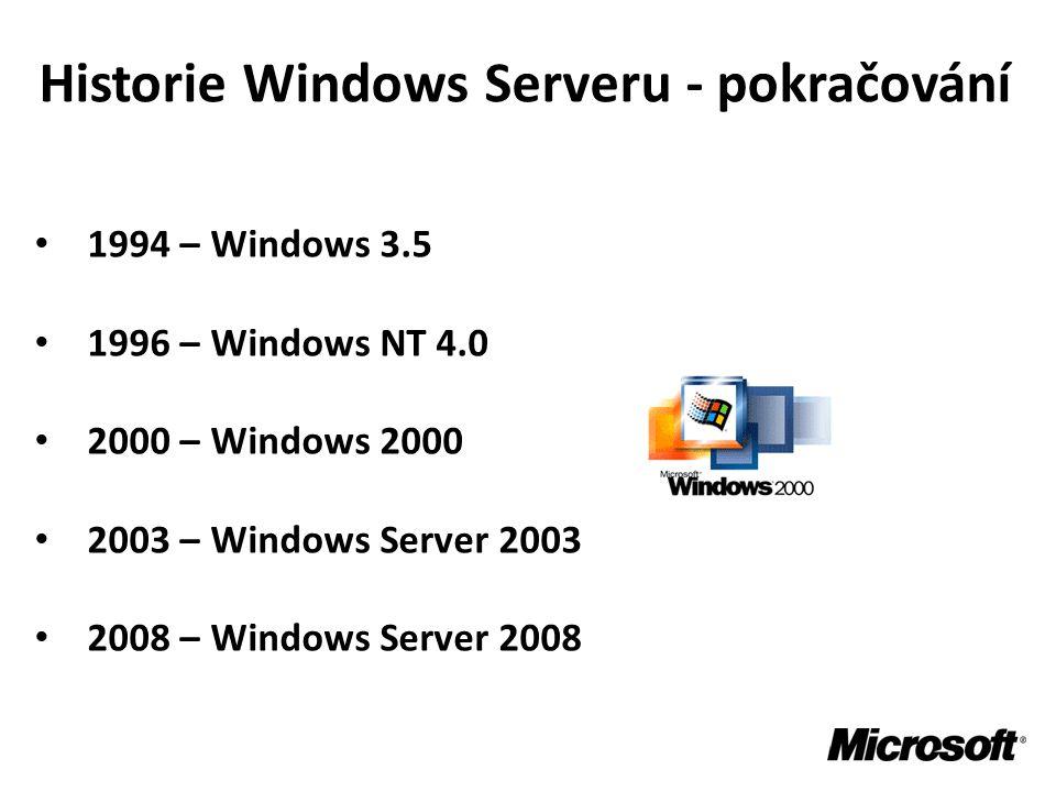 Historie Windows Serveru - pokračování • 1994 – Windows 3.5 • 1996 – Windows NT 4.0 • 2000 – Windows 2000 • 2003 – Windows Server 2003 • 2008 – Window