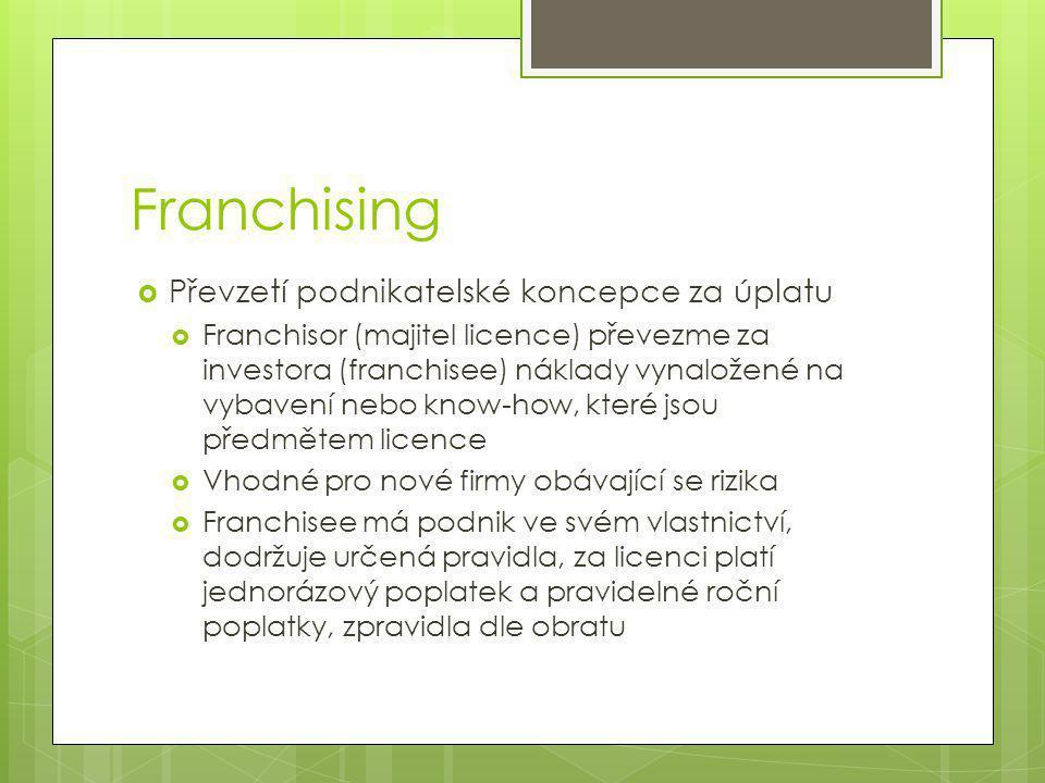 Franchising  Převzetí podnikatelské koncepce za úplatu  Franchisor (majitel licence) převezme za investora (franchisee) náklady vynaložené na vybavení nebo know-how, které jsou předmětem licence  Vhodné pro nové firmy obávající se rizika  Franchisee má podnik ve svém vlastnictví, dodržuje určená pravidla, za licenci platí jednorázový poplatek a pravidelné roční poplatky, zpravidla dle obratu