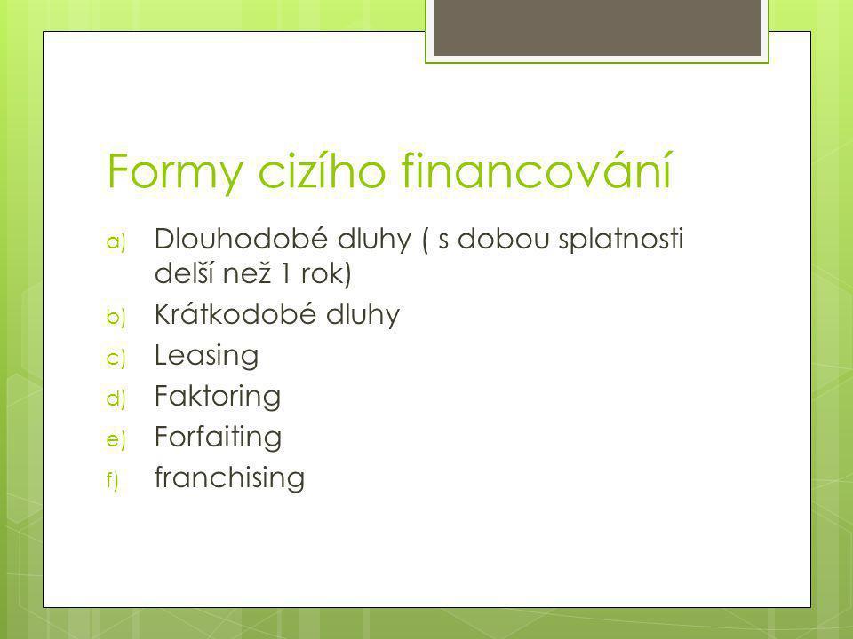 Formy cizího financování a) Dlouhodobé dluhy ( s dobou splatnosti delší než 1 rok) b) Krátkodobé dluhy c) Leasing d) Faktoring e) Forfaiting f) franchising