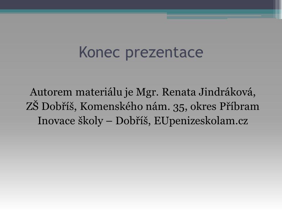 Konec prezentace Autorem materiálu je Mgr. Renata Jindráková, ZŠ Dobříš, Komenského nám. 35, okres Příbram Inovace školy – Dobříš, EUpenizeskolam.cz