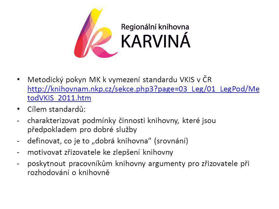 """• Metodický pokyn MK k vymezení standardu VKIS v ČR http://knihovnam.nkp.cz/sekce.php3 page=03_Leg/01_LegPod/Me todVKIS_2011.htm http://knihovnam.nkp.cz/sekce.php3 page=03_Leg/01_LegPod/Me todVKIS_2011.htm • Cílem standardů: -charakterizovat podmínky činnosti knihovny, které jsou předpokladem pro dobré služby -definovat, co je to """"dobrá knihovna (srovnání) -motivovat zřizovatele ke zlepšení knihovny -poskytnout pracovníkům knihovny argumenty pro zřizovatele při rozhodování o knihovně"""