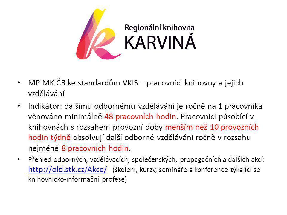 • MP MK ČR ke standardům VKIS – pracovníci knihovny a jejich vzdělávání • Indikátor: dalšímu odbornému vzdělávání je ročně na 1 pracovníka věnováno minimálně 48 pracovních hodin.