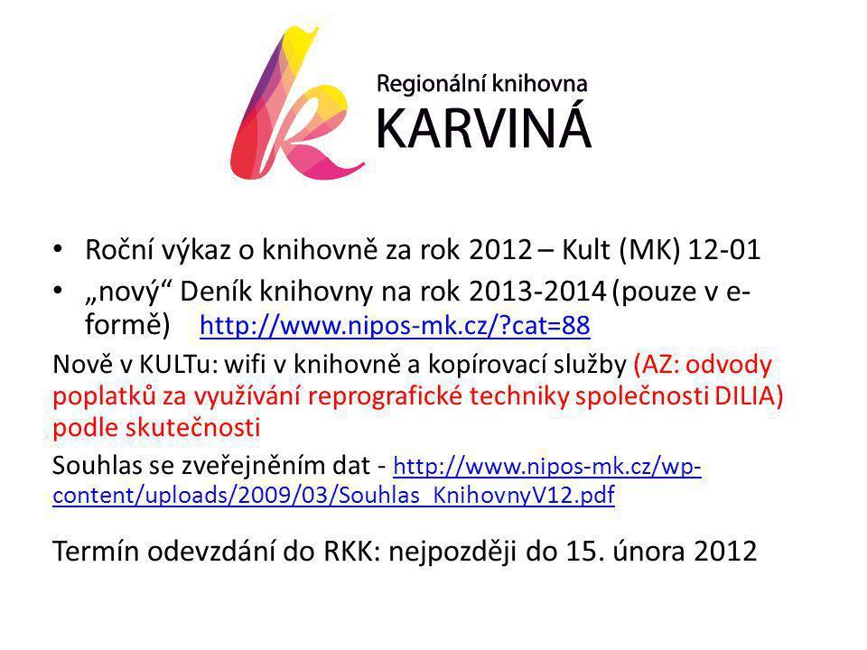 """• Roční výkaz o knihovně za rok 2012 – Kult (MK) 12-01 • """"nový Deník knihovny na rok 2013-2014 (pouze v e- formě) http://www.nipos-mk.cz/ cat=88 http://www.nipos-mk.cz/ cat=88 Nově v KULTu: wifi v knihovně a kopírovací služby (AZ: odvody poplatků za využívání reprografické techniky společnosti DILIA) podle skutečnosti Souhlas se zveřejněním dat - http://www.nipos-mk.cz/wp- content/uploads/2009/03/Souhlas_KnihovnyV12.pdf http://www.nipos-mk.cz/wp- content/uploads/2009/03/Souhlas_KnihovnyV12.pdf Termín odevzdání do RKK: nejpozději do 15."""