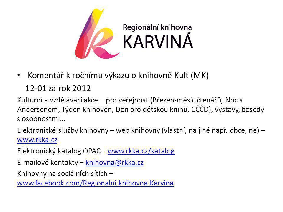• Komentář k ročnímu výkazu o knihovně Kult (MK) 12-01 za rok 2012 Kulturní a vzdělávací akce – pro veřejnost (Březen-měsíc čtenářů, Noc s Andersenem, Týden knihoven, Den pro dětskou knihu, CČČD), výstavy, besedy s osobnostmi… Elektronické služby knihovny – web knihovny (vlastní, na jiné např.