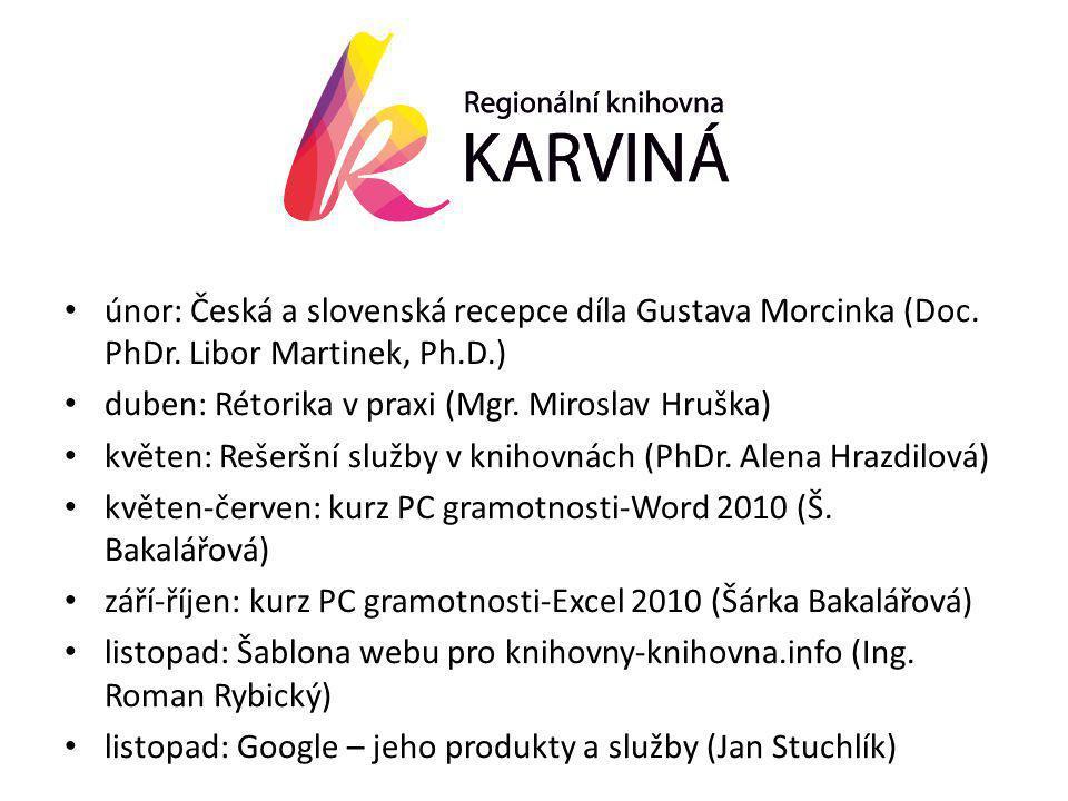 • únor: Česká a slovenská recepce díla Gustava Morcinka (Doc.