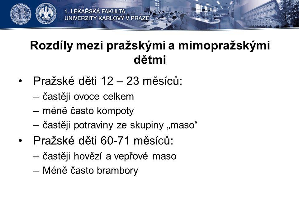 """Rozdíly mezi pražskými a mimopražskými dětmi •Pražské děti 12 – 23 měsíců: –častěji ovoce celkem –méně často kompoty –častěji potraviny ze skupiny """"ma"""