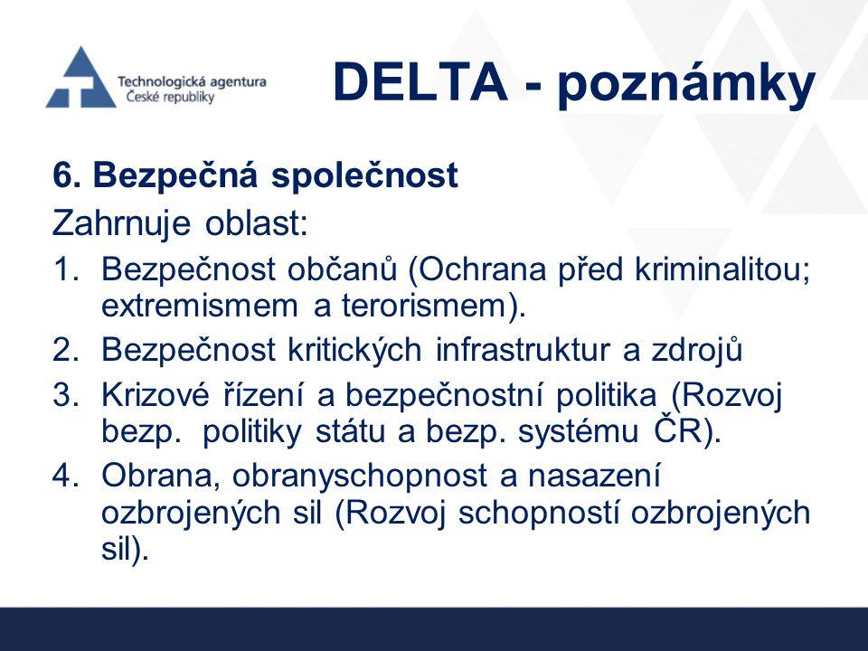 DELTA - poznámky 6. Bezpečná společnost Zahrnuje oblast: 1.Bezpečnost občanů (Ochrana před kriminalitou; extremismem a terorismem). 2.Bezpečnost kriti