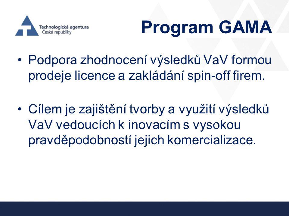 Program GAMA •Podpora zhodnocení výsledků VaV formou prodeje licence a zakládání spin-off firem. •Cílem je zajištění tvorby a využití výsledků VaV ved