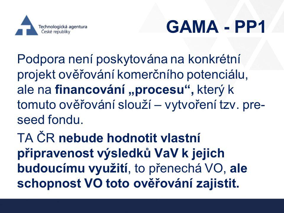"""GAMA - PP1 Podpora není poskytována na konkrétní projekt ověřování komerčního potenciálu, ale na financování """"procesu"""", který k tomuto ověřování slouž"""