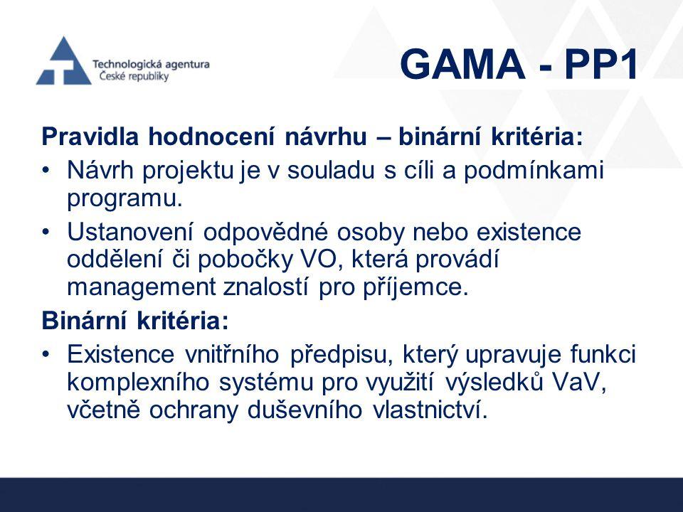 GAMA - PP1 Pravidla hodnocení návrhu – binární kritéria: •Návrh projektu je v souladu s cíli a podmínkami programu. •Ustanovení odpovědné osoby nebo e